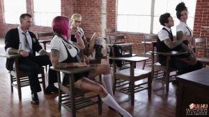 Elite sluts are dressed in schoolgirls and fuck in class