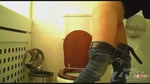 Girls go to the toilet while they are being watched by a hidden camera.