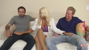 46-year-old blonde MILF still can fuck with two studs