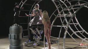 An afterlife robot sucks another underworld creature